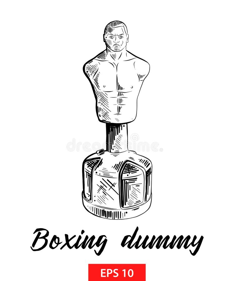 Hand drawn sketch of boxing dummy in black isolated on white background. Detailed vintage etching style drawing. stock illustration