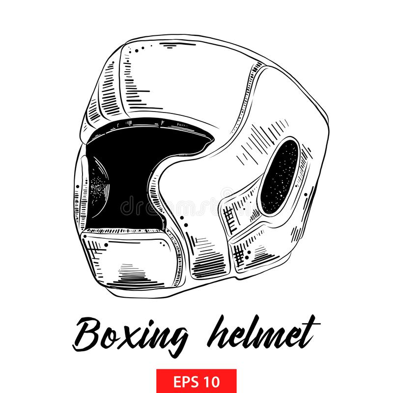 Hand drawn sketch of boxing helmet in black isolated on white background. Detailed vintage etching style drawing. royalty free illustration
