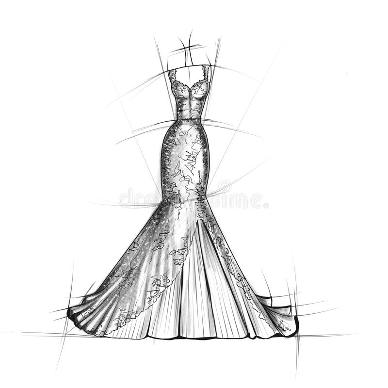 Hand Drawn Sketch Of Bridal Dress Stock Illustration - Illustration ...