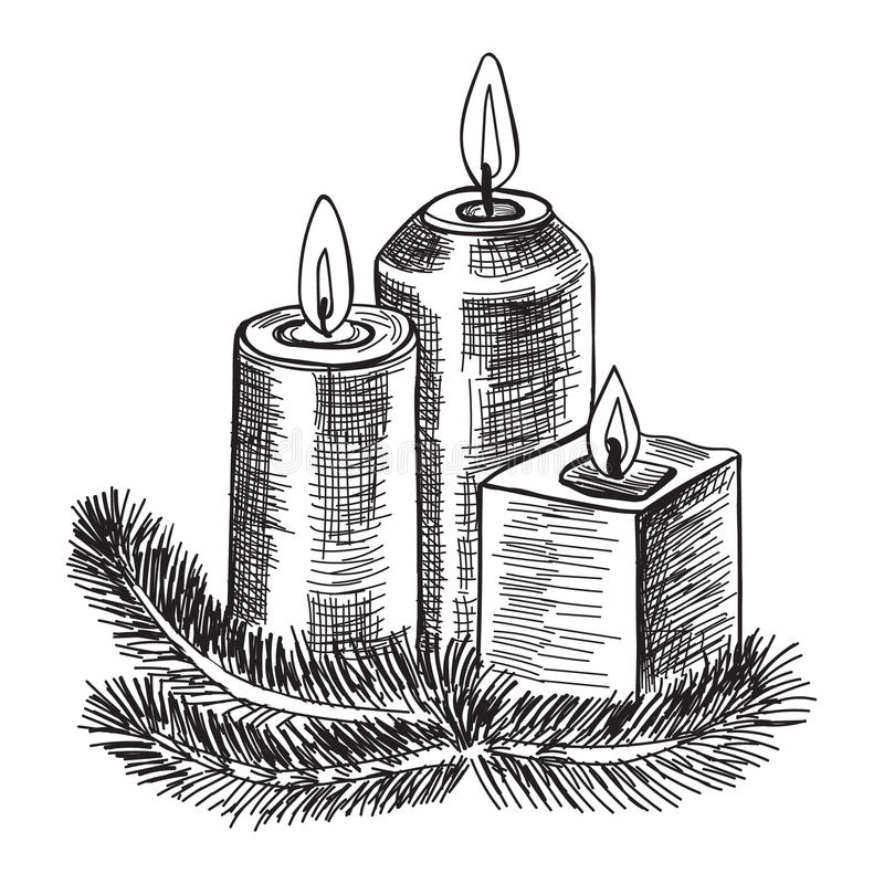 Hand drawn sketch Burning candle christmas candlestick of fir branches. Vector illustration. vector illustration