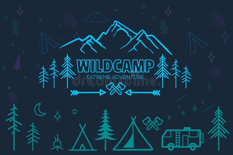 Hand drawn sketch camping icons set. vector illustration