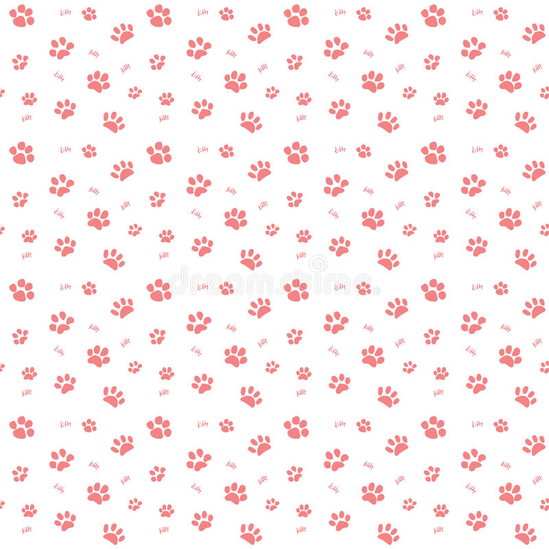 Hand drawn Sketch cats paw and traces seamless pattern, Vector Illustration Elements isolated on white background.  stock illustration