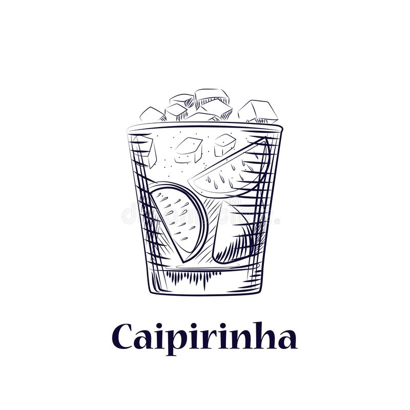 Hand drawn sketch cocktail cachaca, sugar and lime. Isolated coctail. On white background. Engraving style vector illustration vector illustration
