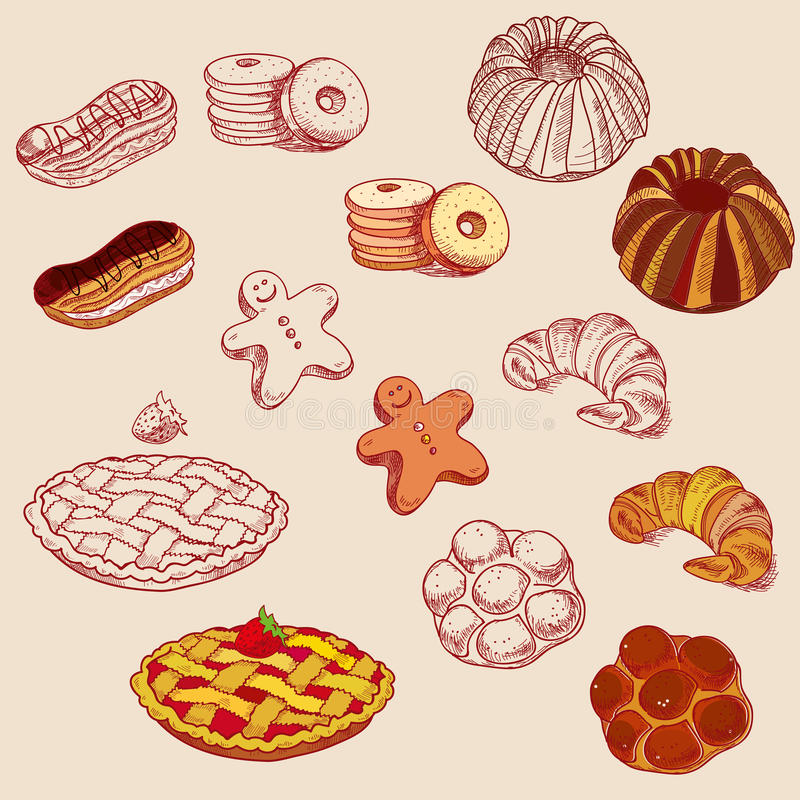 Hand drawn sketch confections dessert pastry. Bakery products donut, pie, croissant, cookie royalty free illustration