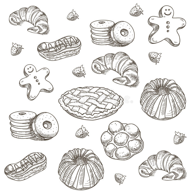 Hand drawn sketch confections dessert pastry. Bakery products donut, pie, croissant, cookie stock illustration