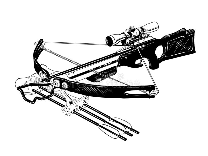 Hand drawn sketch of crossbow in black isolated on white background. Detailed vintage etching style drawing. vector illustration