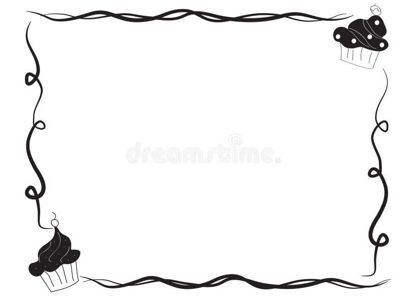 Hand drawn sketch of a cupcake border frame stock illustration