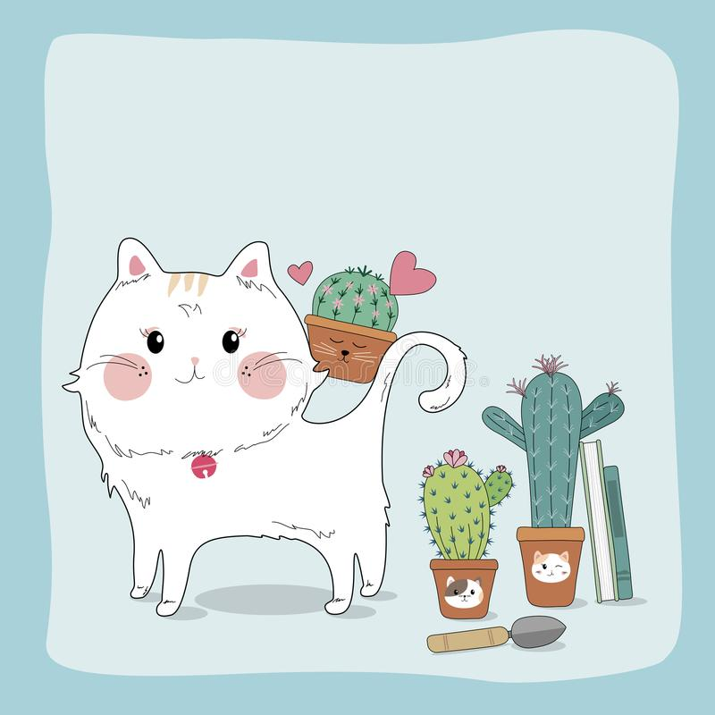 Hand drawn sketch cute cat and cactus in flower pot. Home and garden vector illustration vector illustration