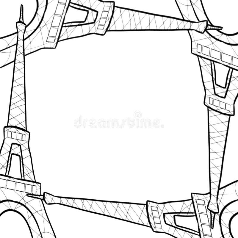 Hand drawn sketch of eiffel tower border frame vector illustration