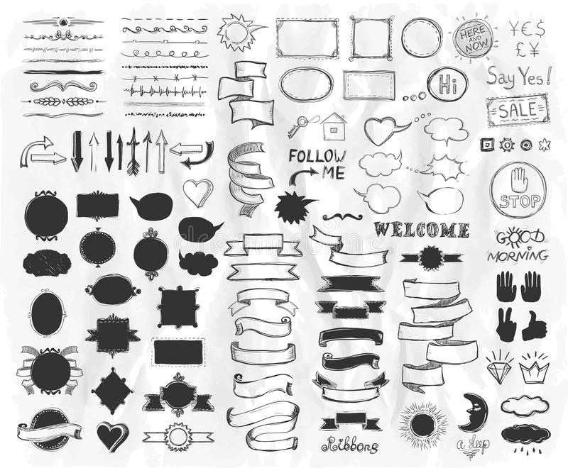 Hand drawn sketch elements on a paper, vector illustration, doodle graphic line elements, vintage style ribbons, frames, dividers royalty free illustration