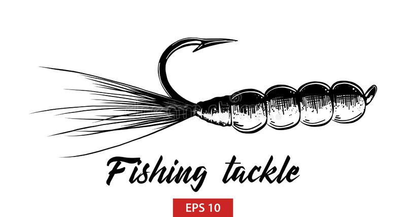 Hand drawn sketch of fishing tackle in black isolated on white background. Detailed vintage etching style drawing. Vector engraved style illustration for royalty free illustration