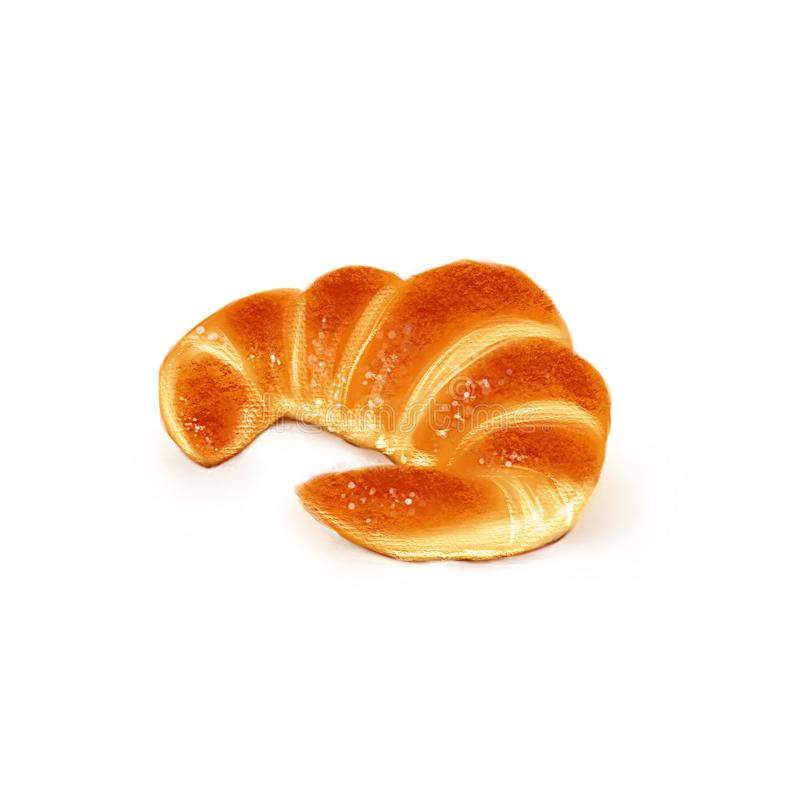 Hand drawn sketch of french croissant stock photo