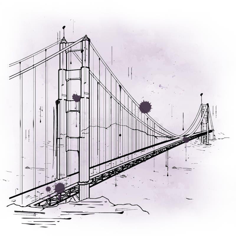 hand drawn sketch of the golden gate bridge stock illustration
