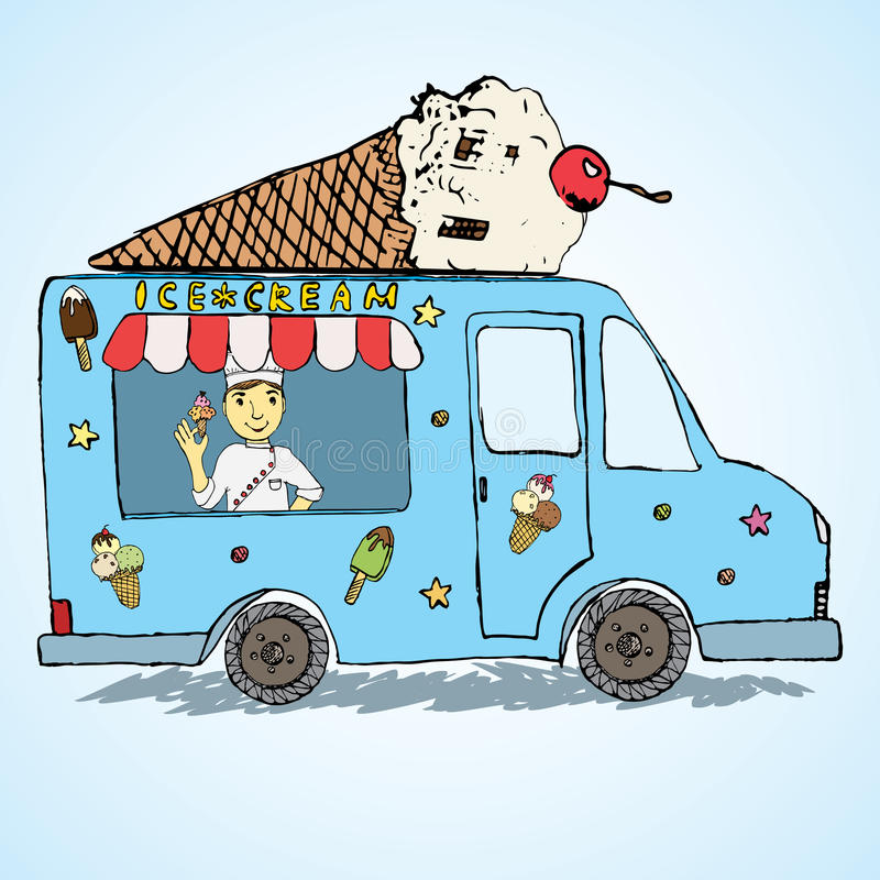 Hand drawn sketch Ice Cream Truck, Color and Playful with yang man seller and Ice Cream cone on top royalty free illustration