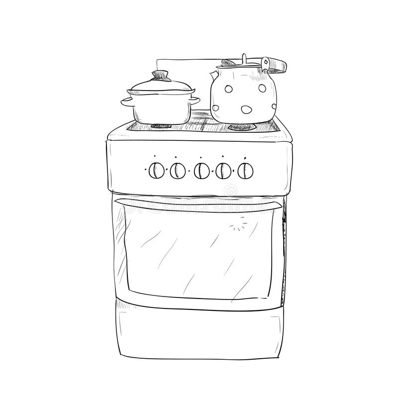 Hand Drawn Sketch Of Kitchen Stove Stock Vector