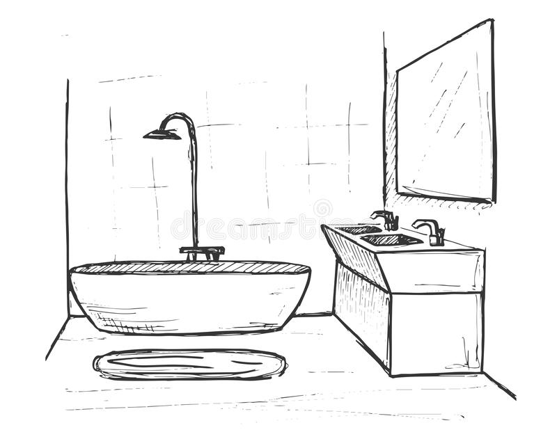 Hand drawn sketch. Linear sketch of an interior. Part of the bathroom. Vector illustration royalty free illustration