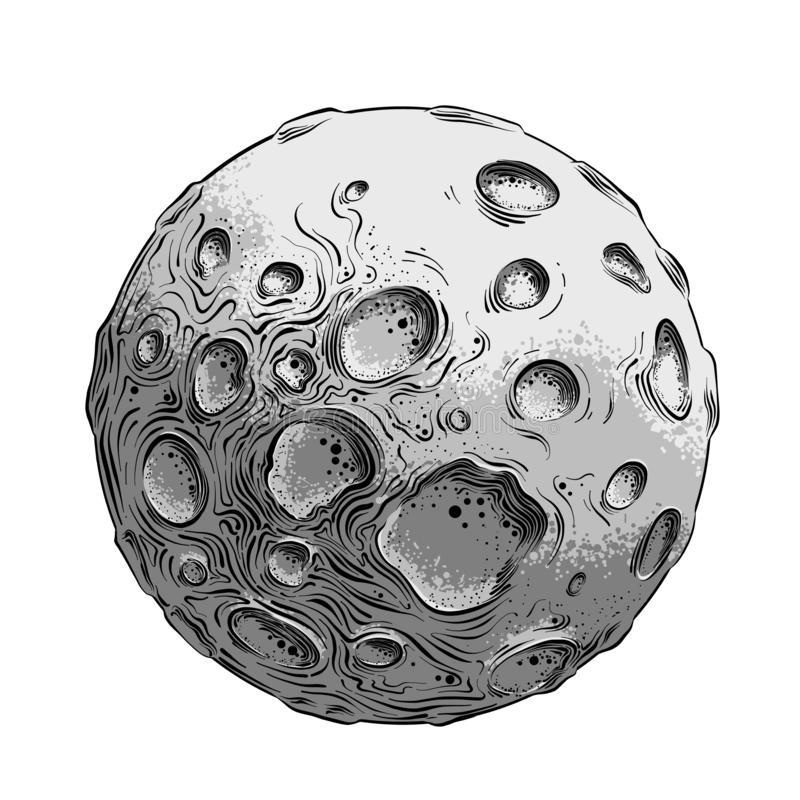 Hand drawn sketch of moon planet in black and white color, isolated on white background. Detailed vintage style drawing vector illustration