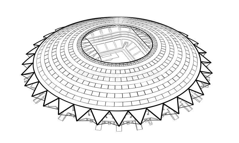 Sketch of the new stadium in Samara. Hand drawn sketch of the new stadium in Samara stock illustration