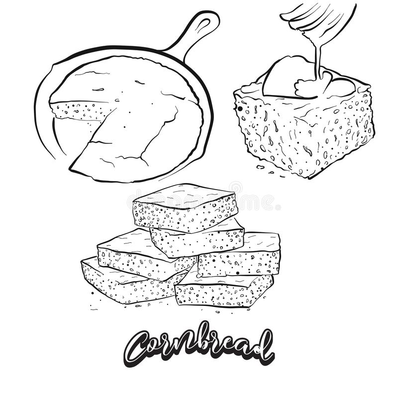 Free Hand Drawn Sketch Of Cornbread Bread Royalty Free Stock Photo - 128262085
