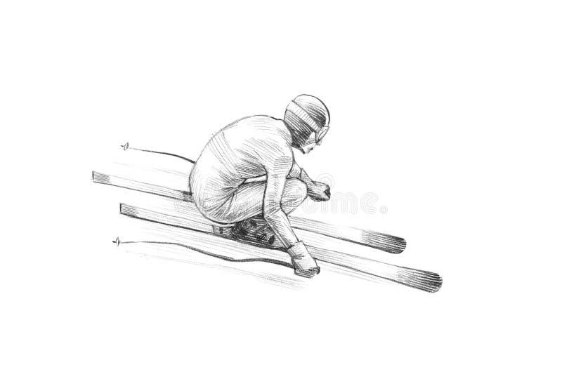 Hand-drawn Sketch, Pencil Illustration of an Alpine Skier Speeding Downhill royalty free stock photos