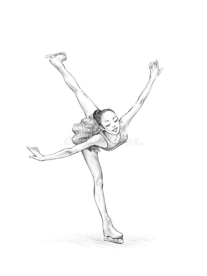 handdrawn sketch pencil illustration of a figure skater