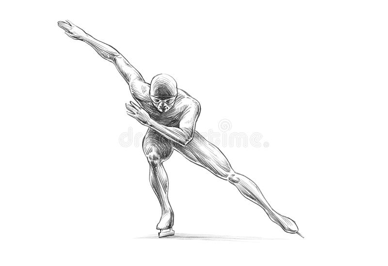 Hand-drawn Sketch Pencil Illustration of a Short Track Speed Ska royalty free stock image