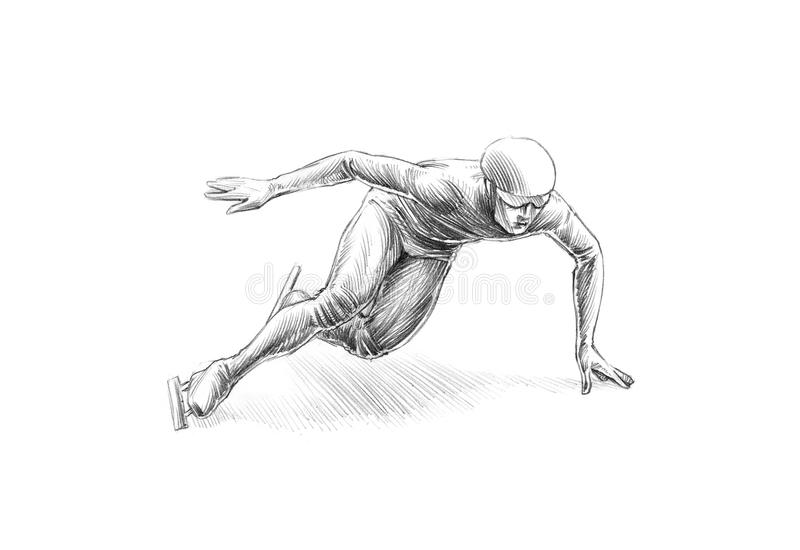 Hand-drawn Sketch Pencil Illustration of a Short Track Speed Ska royalty free stock images