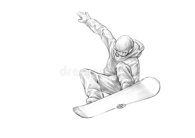 Hand-drawn Sketch - Pencil Illustration of a Snowboarder Mid Air stock image