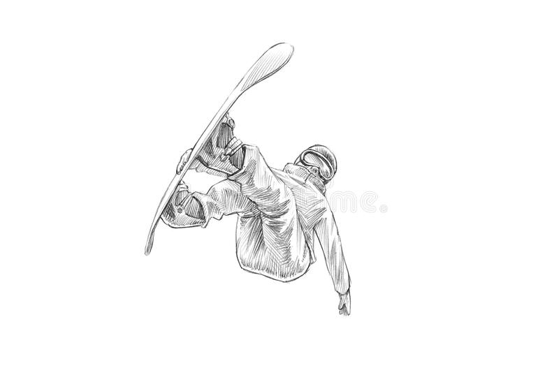 Hand-drawn Sketch - Pencil Illustration of a Snowboarder Mid Air royalty free stock photos