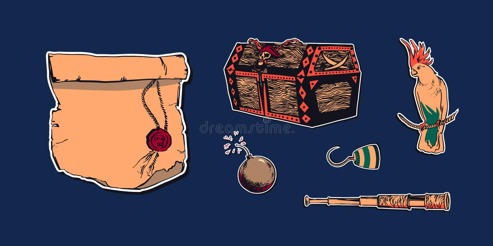 Hand drawn sketch pirate accessories set illustration with buccaneer hook, telescope, antique paper scroll, bomb, parrot and. Treasure chest. Vector filibuster royalty free illustration