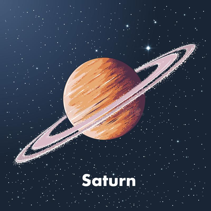 Hand drawn sketch of planet saturn in color, against a background of space. Detailed drawing in the style of vintage. Vector illustration stock illustration