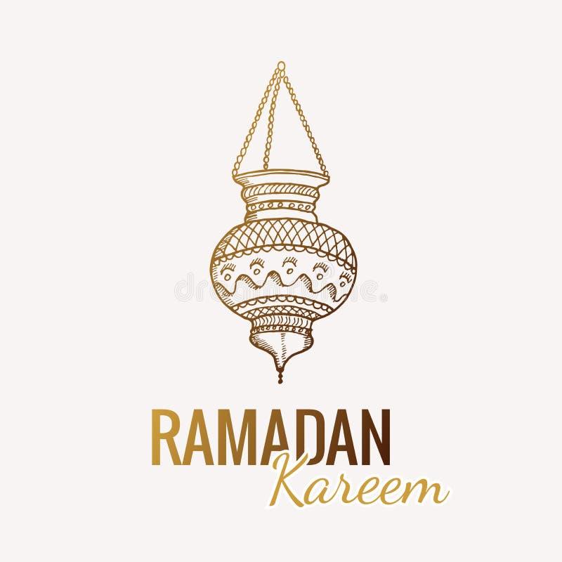 Hand drawn Sketch of Ramadan Kareem flashlight. Vintage vector Background. Greeting arabic traditional lantern stock illustration