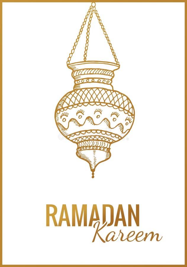 Hand drawn Sketch of Ramadan Kareem flashlight. Vintage vector Background. Greeting arabic traditional lantern vector illustration