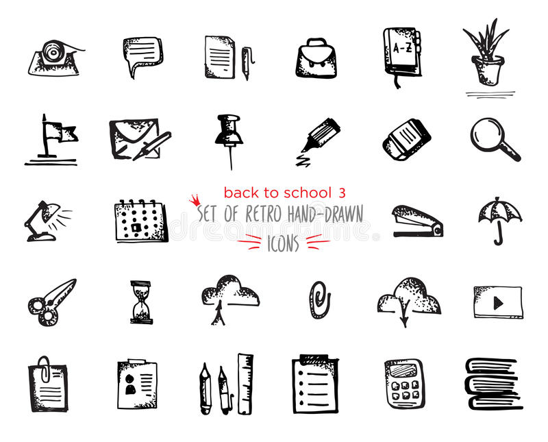 Hand-drawn sketch school tools icon set Black on white background vector illustration