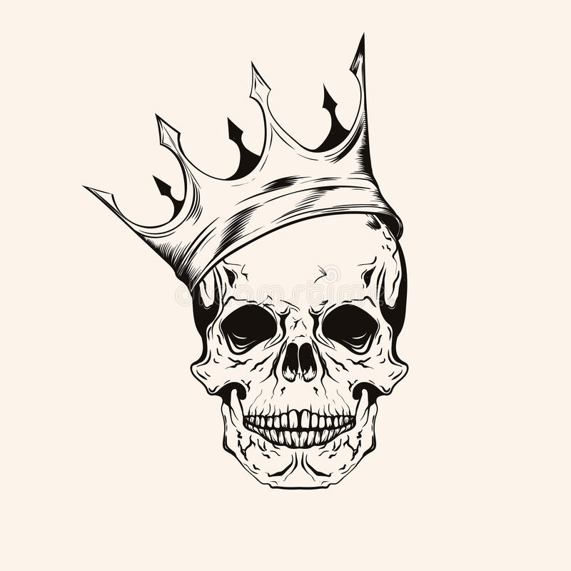 Line Art Vector Illustrator : Hand drawn sketch scull with crown tattoo line art