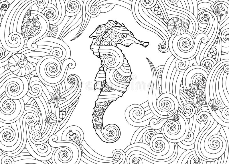 Hand drawn sketch of seahorse surrounded by waves in zentangle inspired style. stock illustration