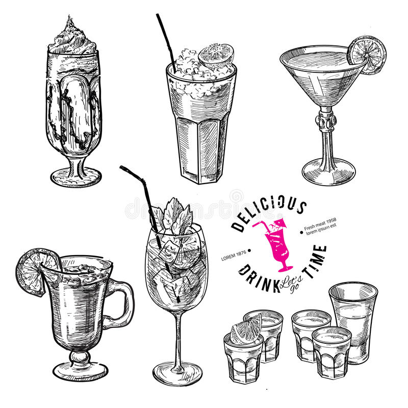 Hand drawn sketch set of alcoholic cocktails. royalty free illustration
