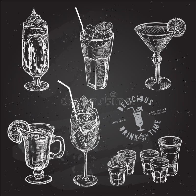 Hand drawn sketch set of alcoholic cocktails. Vector illustration stock illustration