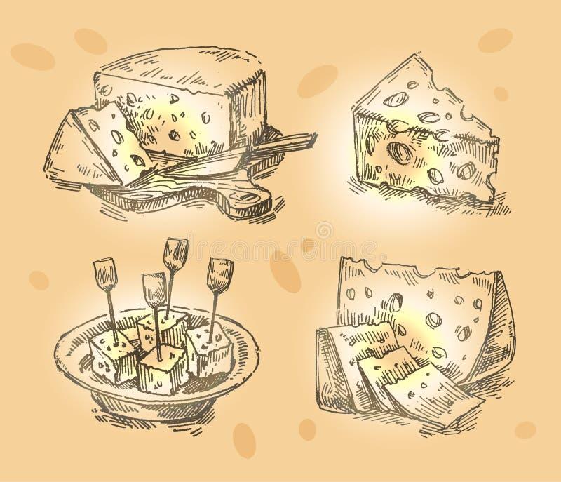 Hand drawn sketch set cheese. vector illustration stock illustration