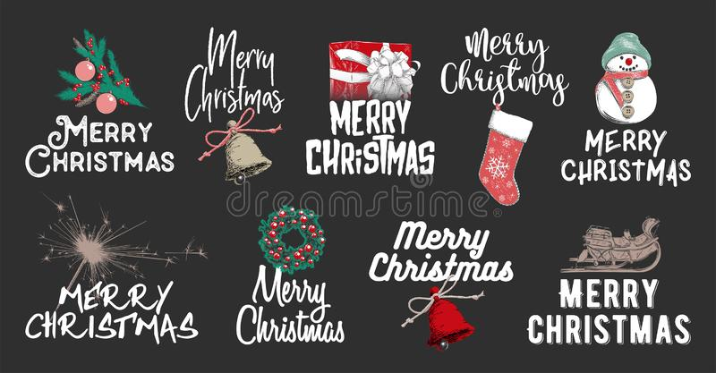 Hand drawn sketch set Christmas and New Year holiday on dark background. Detailed vintage etching drawing. Vector engraved style illustration with typography for vector illustration