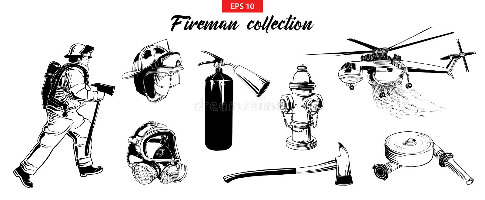 Hand drawn sketch set of firefighter, extinguisher, hydrant, helicopter, gas mask, firehose. Vector engraved style illustrations for posters, logo, emblem and stock illustration