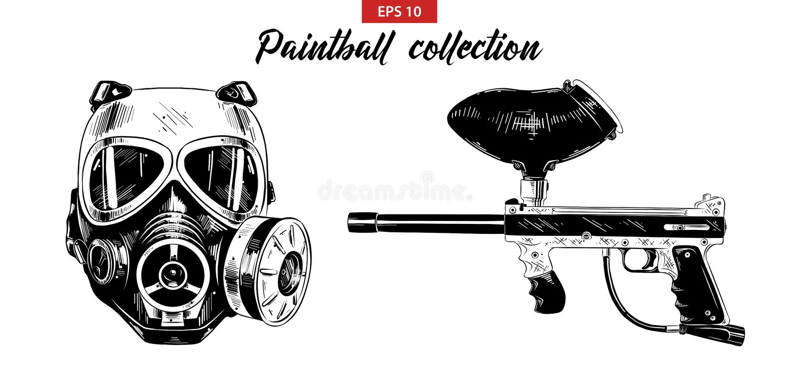 Hand drawn sketch set of paintball gun and mask isolated on white background. Detailed vintage etching drawing. Vector engraved illustration for posters stock illustration