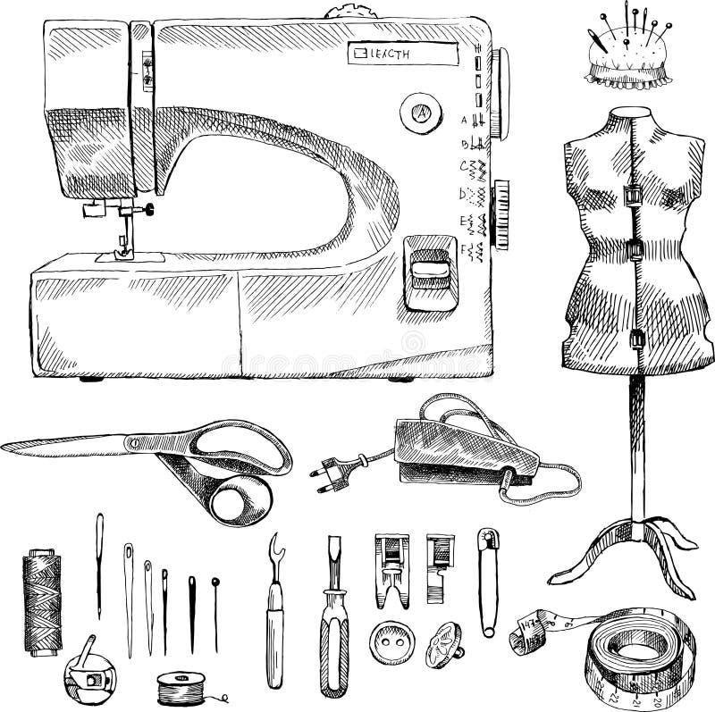 Hand Drawn Sketch Sewing Set royalty free illustration