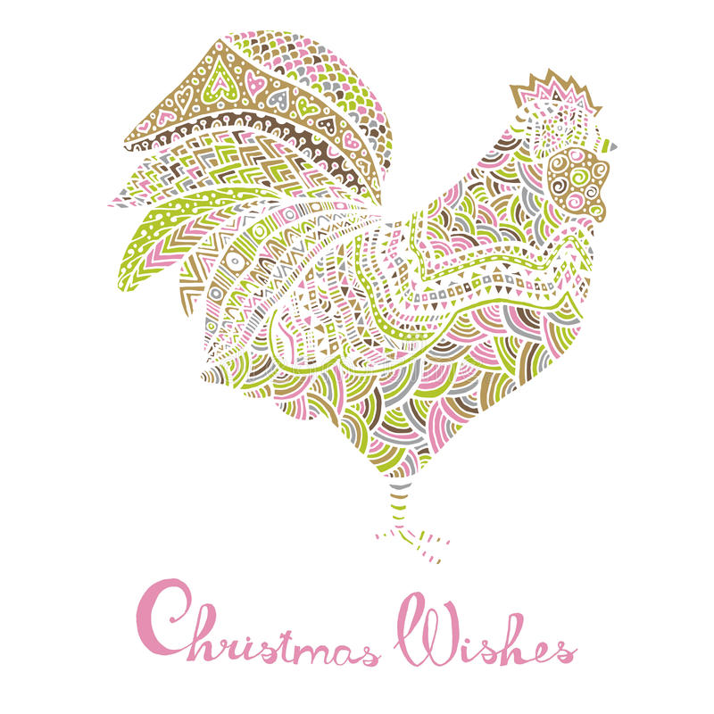 Hand drawn sketch in the shape of a rooster. Covered with multiple detailed patterns colored with diffrent colors, greetings lettering for New Year and stock illustration