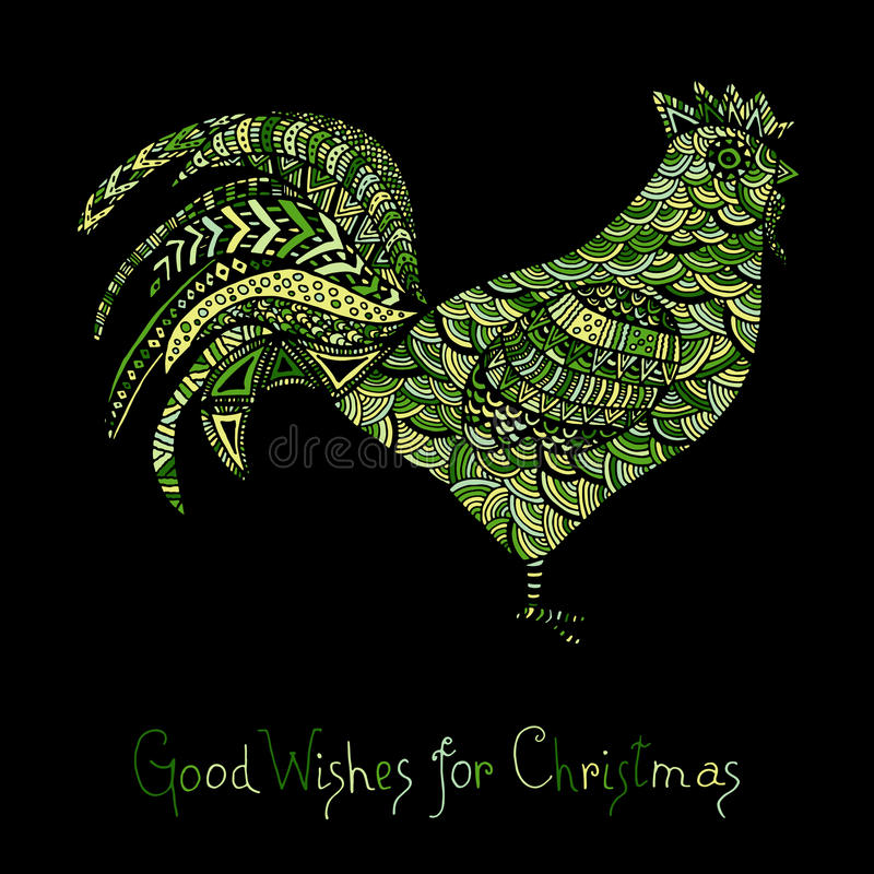 Hand drawn sketch in the shape of a rooster. Covered with multiple detailed patterns colored with diffrent colors, greetings lettering for New Year and vector illustration