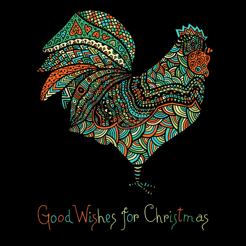 Hand drawn sketch in the shape of a rooster. Covered with multiple detailed patterns colored with diffrent colors, greetings lettering for New Year and royalty free illustration