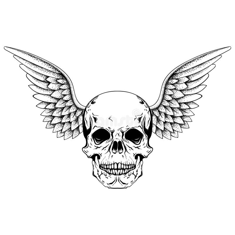 Hand drawn sketch skull with wings, tattoos line art. Vintage ve stock illustration