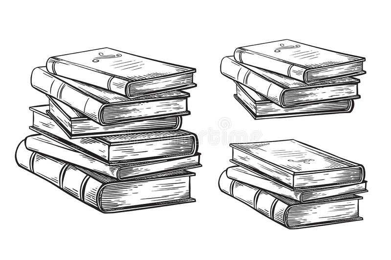 Hand drawn sketch stack books isolated on white background vector royalty free illustration