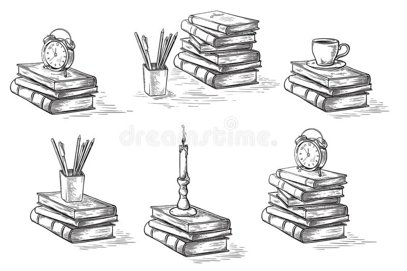 Hand drawn sketch stack books set clock pen and candle isolated on white background vector. Illustration vector illustration