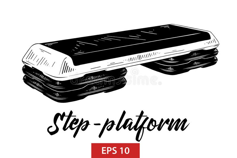 Hand drawn sketch of step-platform in black isolated on white background. Detailed vintage etching style drawing. vector illustration